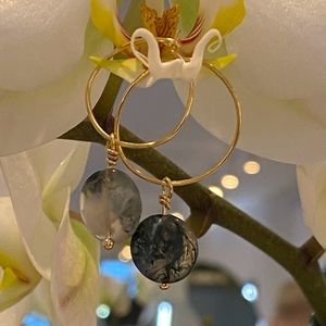 Gold hoop jade earrings